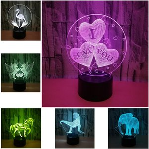 Table Lamps 3D LED Lamp Creative Energy Desk LampSaving Cartoon Christmas Home Decoration Control Switch 7Color Night Light Children's Gift