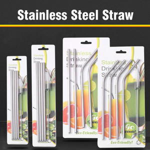 Metal Reusable 304 Stainless Steel Straws Straight Bent Drinking Straw Case Cleaning Brush Set Food Grade Metal Party Bar Supplies YL0043