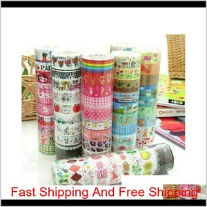 100Pcs 1.5Cm*3 Meter Paper Sticky Adhesive Sticker Decorative Washi Tape New #R801 Edyky Tzy2K Aervh