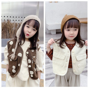 2021 New Fashion Autumn Japanese Style Kids Gilet Boys Girls Winter Waist Coat Children Polka Dots Outerwear Baby Vest Addu