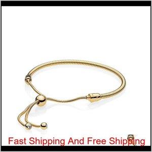 18K 옐로우 골드 도금 팔찌 핸드 밧줄 Pandora 925에 대 한 손 로프 원래 선물 상자를 가진 여성을위한 스털링 실버 팔찌 ISBMG YXJ1R