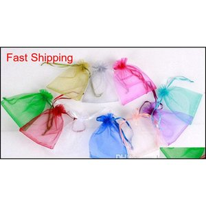 Wholesale 7*9cm Jewelry Bags Mixed Organza Jewelry Wedding Party Favor Xmas Gift Bags Purple Blue Pink Yellow Black qylQPr bdehome