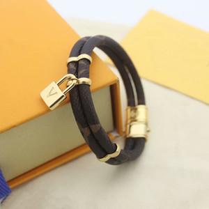 Europe America Fashion Lady Women Round Print Flower Double Deck Design Engrave V Letter Lock Charm Leather Bracelets Bangle