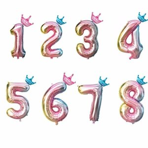 1pc Babyshower 32inch Number Gender Reveal Foil Balloons Happy Birthday Party Decoration Ballons Wedding Decor Balls Child's Toy