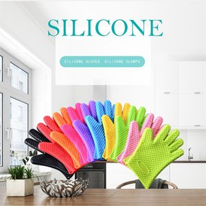 Silicone BBQ Gloves Anti Slip Heat Resistant Microwave Oven Pot Baking Glove Kitchen Cooking Tool Five Fingers Gloves T9I001132