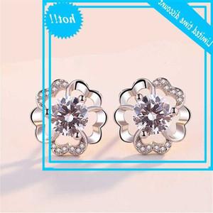 Sansheng Sanshi Shili Peach Blossom Sill Plated Earrings 레이디 매실 꽃 간단한 성격 다재다능한 귀 보석