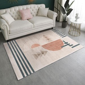 Carpets Light Luxury El Style Girl Pink Rug Geometric Abstract Pattern For Living Room Soft And Comfortable Bedroom
