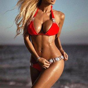 Mulheres luxuoso conjunto de biquíni diamante bandagem de altura swimwear profundamente decote em v natação de natação desgaste sexy terno de nadado vermelho caindoindoll 2021
