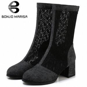 Bonjomarisa New 33 43 Signore Moda Street Denim Stivali Summer Elegante Mid Calf Mesh Boots Donna 2020 Tacchi alti Scarpe Donna 03AF #