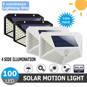 100 LEDS Güneş LED Duvar Işık Lambası Dört Taraflı Aydınlatma Hareket Sensörü IP65 Açık Bahçe Yolu Alley Sokak Gece Aydınlatma