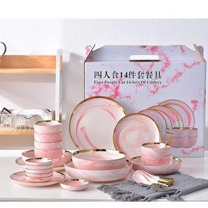 14 pcs definido para 6 pessoas rosa mármore jantar de cerâmico prato salada salada de sopa placas de sopa conjuntos de louça de mesa cozinha cozinha ferramentas