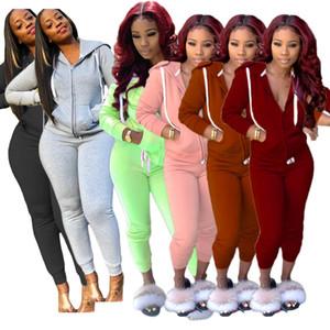 Women jacket pants S-2XL 2 piece sets tracksuit fall winter casual long-sleeved pant Suit clothing Solid color cardigan outfits DHL