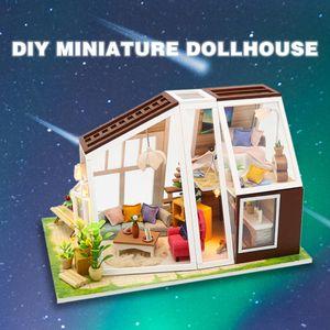 3D кукольный дом diy миниатюрный светодиодный светло-кукольный дом модель деревянные игрушки миниатюры головоломки коробки кукол дома игрушки дети дня рождения подарок l0311