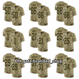 Indianapolis.Colts.Uomini 53 Dario Leonard 18 Peyton Manning 28 Marshall Faulk Marvin Harrison Camo Salute to Service Limited Jersey