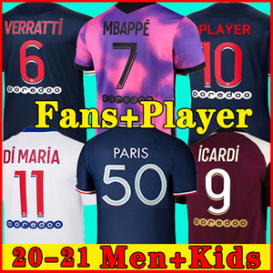 20 21 Thai Soccer Jersey Mbappe Verratti 2020 2021 Marquinhos Kimpembe 디 마리아 kean 축구 유니폼 축구 탑스 남자 셔츠와 아이들 세트