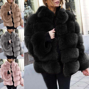 2021Women Long Sleeveless Faux Fur Fleece Thick Warm Coat Winter Autumn Plush Female Outwear ladies clothing Sale
