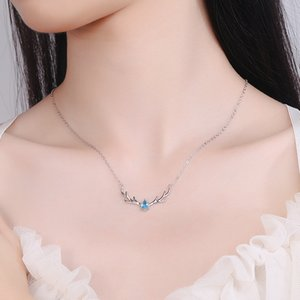 2021s925 Sterling Silver One Deer Necklace with You Mori Style Elk Clavicle Chain Necklace Christmas Valentines Day Gift
