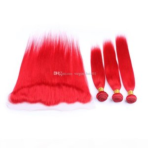 #Red Malaysian Straight Human Hair Bundle Deals 3Pcs with Frontals 4Pcs Lot Red 13x4 Full Lace Frontal Closure with Weaves