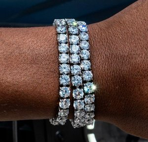 Round Square Cut Mens Tennis Bracelet Zirconia Triple Lock Hiphop Jewelry Cubic Luxury Crystal Cz Men Fashion Charm Bracelets Jewelry V6Law