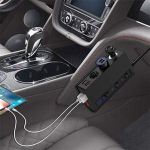 Quick Charge 3.0 Cigarette Lighter Splitter 12V 24V 3-Socket 180W ON-OFF DC Power Car Splitter with 4-Port USB Car Charger