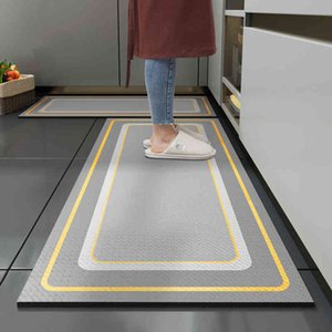 Kitchen Floor Long Carpets Non-slip Oil-proof Waterproof Rug Dirt-resistant Foot Pad Thick Leather Washable And Wipeable PVC Mat