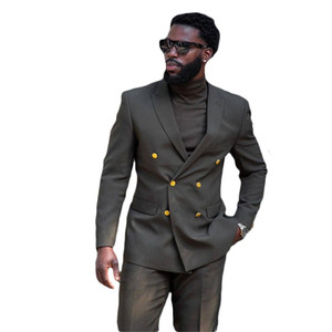 Two Pieces Black Men Suits Custom Made Handsome Spring Wedding Suits Gold Metal Two Button Royal Formal Coat+Pant