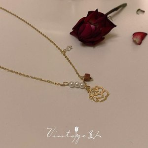 Pendant Necklaces Necklace Clavicle Chain Vintage Hollow Rose Pearls Golden Charm Baroque Wedding Gift Jewelry Accessories For Women Wholesa