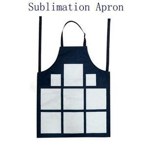 Sublimation 9 Plaid Aprons Sublimation Blanks Kitchen Apron Printing Oil Proof Antifouling Cotton Linen Aprons HHD5012