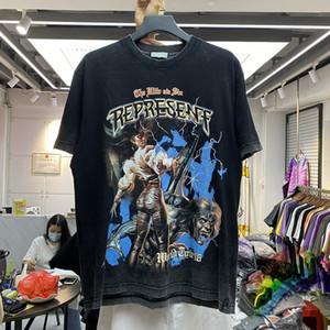 2021SS T-shirt hombres mujeres de alta calidad Tee impreso Tops Vintage Grey