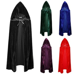 Adult Halloween Velvet Cloak Hooded Medieval Cosplay Costume Witch Wicca Vampire Cape Dress Coats 5 Colors