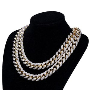 Luxury Zircon Necklaces Trendy Men Women Chokers Fashion High Quality 18K Gold Plated 18mm Width Big Size Chain Hip Hop Necklace