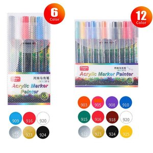Acrylic Paint Pen Water-based Graffiti Pen 6 12 18 24 36 Color Painting Ceramic Photo Album Black Card Pen Color H jlldqp
