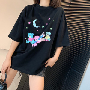 2021 Spring B Family Cub Star Sky new short-sleeved couple dress wave brand loose cartoon t-shirt women wholesale factory paris