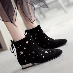 Rimocy Fashion Rivet Lace Up Ankle Boots For Women Winter Kid Suede Height Increase Shoes Woman Comfortable Low Heel Botas Mujer L8dC#