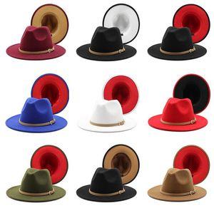 Patchwork Felt Fedora Hats Men Women Jazz Panama Cap Imitation Wool Double-Sided Color Wide Brim Hat Man Woman Fashion Street Caps NEW