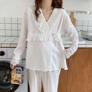 2570 Lieferung Frühling Herbst Baumwolle PostPartum Nursing Kleidung Fütterung Große Größe Schwangerer Frauen Pyjamas