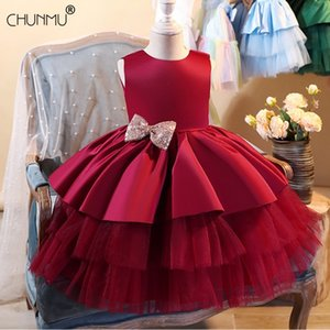 Infantil Flower Dress For Girls 1st Birthday Party Wedding Lace Tutu Girl Dress Baby Girl Princess Vestido Christmas Costume 210317