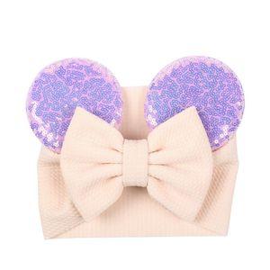 Big Bow Wide Haidband Cute Baby Girls Accessori per Capelli Sequined Mouse Ear Girl Fascia Nuovo Design Holidays Trucco Costume Band KKD4943