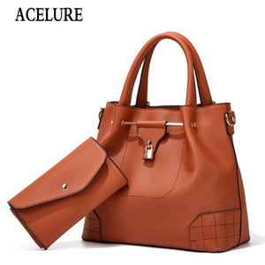ACELURE Solid Color Women's Bags + Purse New Diagonal Fashion Picture-Mother Bags Litchi Pattern PU Leather Women Shoulder