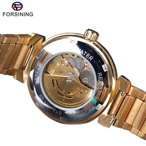 Forsining Ocean Dial Design Small Skeleton Display Golden Stainless Steel Mens Automatic Watches Top Clock
