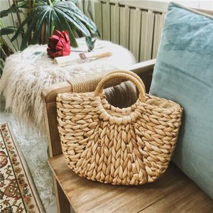 Children grass weaving bag kids straw hand made Shopping basket summer girls Easter Woven Rattan Handbags Round Handle Bags A5872