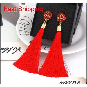 Boho Crystal Long Tassel Drop Earrings For Women Ethnic Geometric Rose Flower Sign Dangle Statement Earring 2019 F qylfLh luckyhat