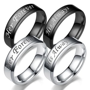 جولة الاصبع خاتم عيد الحب هدية له دائما / لها إلى الأبد التيتانيوم الصلب خاتم الزفاف خاتم الزفاف الأزياء والمجوهرات زوجين