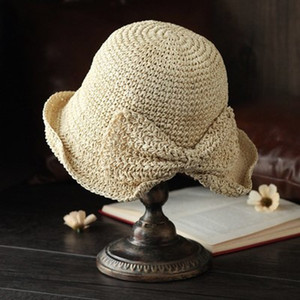 2021 New Hats Beach Outdoor Straw Wide Brim Weave Bowknot Elegant Sun Protective Solid Color Bucket Summer Women Hat Xi0w