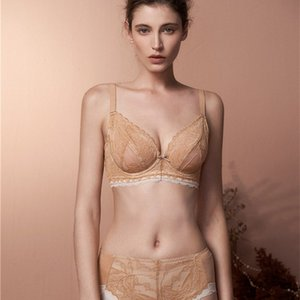 Big Chest Show Small Ultra Thin Romantic French Lace Large Size Adjustment Cd Crystal Cup Soft Steel Ring Underwear Set Summer