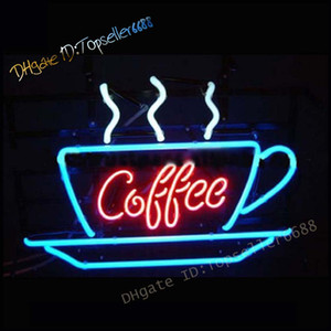 17x 14 inch Glass NEON Sign Coffee Open, Advertisement Board Electric Display Sign, for Business, Walls, Window, Shop, bar, Hotel