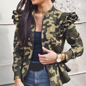 Camo Bomber Jaets Fashion Retro Basic Army Green Women Casual Air Force Baseball Jas Overcoat Tops