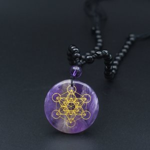 Natural quartz crystal flower of life pendant, 7 Chakra necklace, organic stone, 30mm