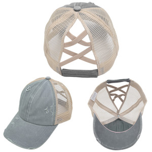 Summer new style washed cross women's ponytail baseball cap with ragged edge cap and ponytail mesh cap XY322
