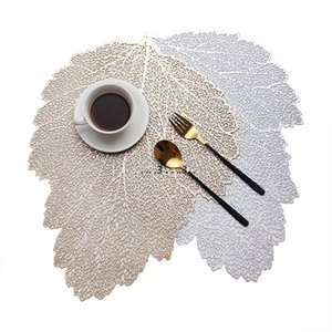 Placemat Dining Table Coasters Leaf Simulation Plant PVC Coffee Cup Table Mats Hollow Kitchen Christmas Home Decor Gifts FWA3859